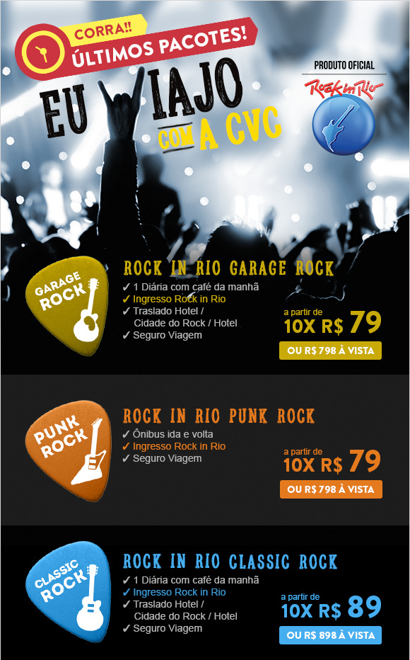 Pacotes Rock in Rio a partir de 10 vezes de 79 reais