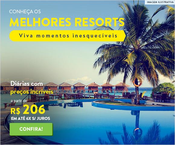 Conheça os melhores resorts. Diárias com preços incríveis a partir de 206 reais.